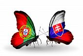 Two Butterflies With Flags On Wings As Symbol Of Relations Portugal And Slovakia