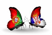 Two Butterflies With Flags On Wings As Symbol Of Relations Portugal And Serbia