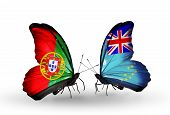Two Butterflies With Flags On Wings As Symbol Of Relations Portugal And Tuvalu