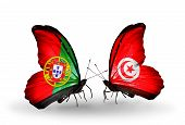 Two Butterflies With Flags On Wings As Symbol Of Relations Portugal And Tunisia