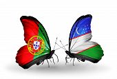 Two Butterflies With Flags On Wings As Symbol Of Relations Portugal And Uzbekistan