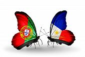 Two Butterflies With Flags On Wings As Symbol Of Relations Portugal And Philippines