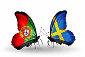 Two Butterflies With Flags On Wings As Symbol Of Relations Portugal And Sweden