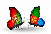 Two Butterflies With Flags On Wings As Symbol Of Relations Portugal And Eritrea