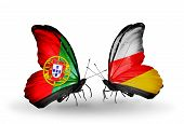 Two Butterflies With Flags On Wings As Symbol Of Relations Portugal And South Ossetia