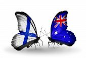 Two Butterflies With Flags On Wings As Symbol Of Relations Finland And Australia
