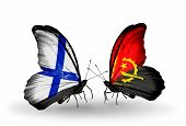 Two Butterflies With Flags On Wings As Symbol Of Relations Finland And Angola