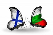 Two Butterflies With Flags On Wings As Symbol Of Relations Finland And Bulgaria