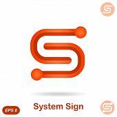 S Letter - Modern System Concept Sign