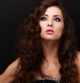 Beautiful Makeup Fashion Model Looking Up With Smokey Eyes