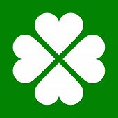 Clover With Four Leaves Icon. Saint Patrick