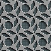 Seamless Rhombus and Circle Pattern. Vector Gray Regular Texture