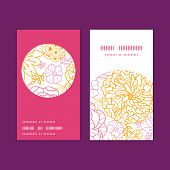 Vector flowers outlined vertical round frame pattern business cards set