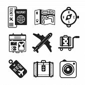 Set Of Vector Monochrome Travel Icons In Flat Style