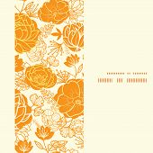 Vector golden art flowers vertical frame seamless pattern background