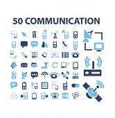 50 communication, connection icons, signs, illustrations set, vector