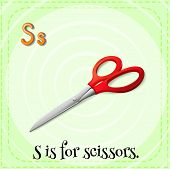 Illustration of a letter s is for scissors