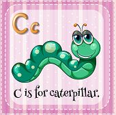 Illustration of a letter C is for caterpillar