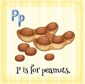 Illustration of a letter P is for peanuts