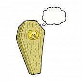 foto of coffin  - spooky cartoon coffin with thought bubble - JPG
