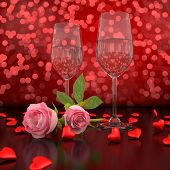 Valentines Day - Champagne glasses and roses, hearts