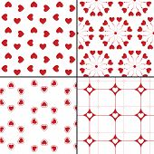 Four Seamless patterns with hearts. Vector repeating texture