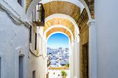Typical Street In Vejer De La Frontera, Andalusia, Spain.