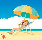 Girl Sunbathes Lying On A Sun Lounger On The Beach