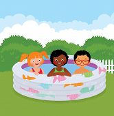 Group Of Children In An Inflatable Pool
