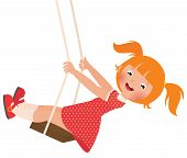 stock photo of swing  - Stock Vector cartoon illustration of a redhead girl on a swing - JPG