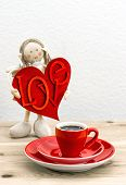 Coffee And Valentines Day Decoration. Doll Girl With Love