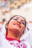 Banos De Aqua Santa, Tungurahua, Ecuador, December 2014, Young Latin Woman Dancing  In The Street On
