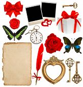 Objects For Scrapbooking. Letter Paper, Photo Frame, Flower, Butterfly