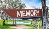 Memory wooden sign with rural background