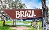 Brazil wooden sign with rural background