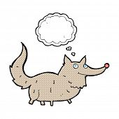 cartoon little wolf with thought bubble