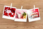 Photo cards hanging on the clothesline, Valentine's Day concept
