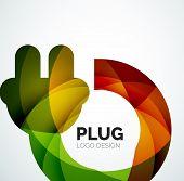Abstract company logo design elemnet - plug icon