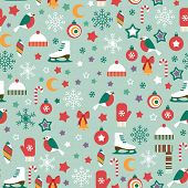 seamless pattern with winter icons on blue background