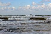 Waves Of The Black Sea, Anapa, Krasnodar Krai. The Ship In The Sea On The Horizon.