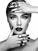 foto of jewelry  - Portrait of beautiful woman with jewelry - JPG