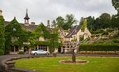Castle Combe english park and old house