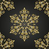 Damask Vector Pattern. Orient Golden Ornament