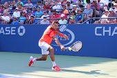 Professional tennis player Jo-Wilfried Tsonga during US Open 2014 first round match
