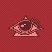 foto of freemason  - all seeing eye of horus vintage art vector illustration - JPG