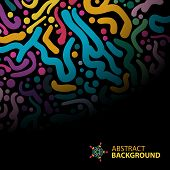 Abstract Background Of Colorful Brush Strokes On A Dark Background With Space For Text