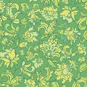 ethnic flowers seamless pattern.