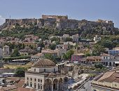 Acropolis and Plaka famous neighborhood Athens