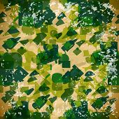 Abstract Green Seamless Pattern With Squares In Vintage Style