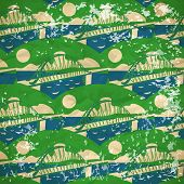 Abstract Pattern Of The Bridges Over The River In Vintage Style